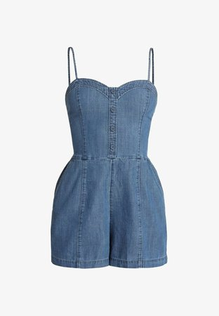 Abercrombie & Fitch BUTTON THROUGH ROMPER - Overall / Jumpsuit - blue grey - Zalando.se
