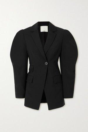 Wool-crepe Blazer - Black