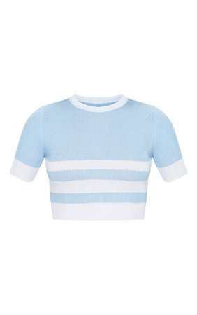 Baby Blue Stripe Fine Knit Crop Top   PrettyLittleThing USA