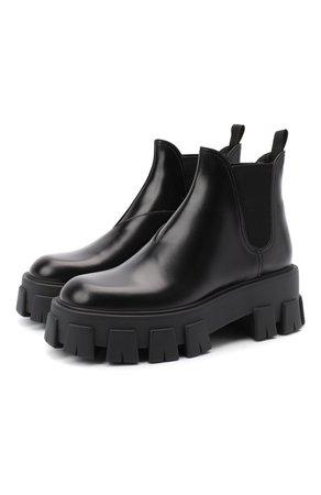 Женские черные кожаные челси PRADA — купить за 59000 руб. в интернет-магазине ЦУМ, арт. 1T725L-B4L-F0002-55