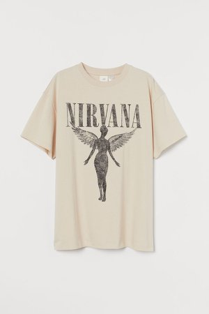 Oversized Printed T-shirt - Beige