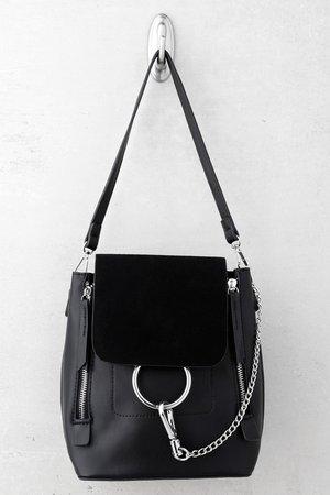 Cute Black Backpack - Black Tote Bag - Vegan Leather Backpack - $37.00