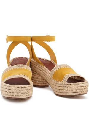 Yellow Suede and straw platform sandals | Sale up to 70% off | THE OUTNET | TORY BURCH | THE OUTNET