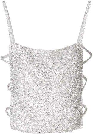 Nina Ricci crystal-embellished open-back top