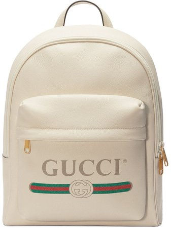 Gucci Print Leather Backpack 5478340Y2BT White | Farfetch