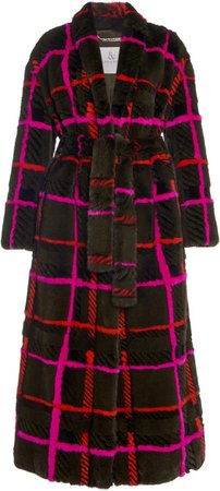 Ralph & Russo Check Mink Fur Coat