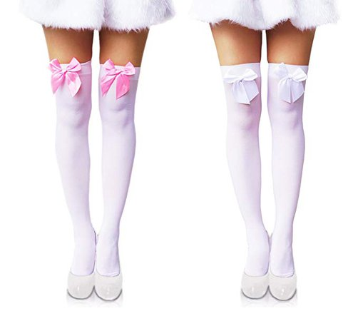 """Amazon.com: Another Me New Women's Opaque Cute Sexy Nylon Knee Highs Thigh High Stockings with Satin Bows 29.5"""" White Pink and All White (2 Pairs): Clothing"""