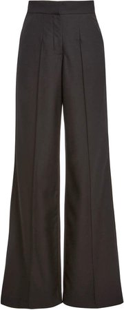 Costarellos Annis Pintucked Wool Wide-Leg Trousers