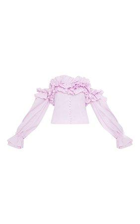 Lilac Ruffle Hem Off Shoulder Long Sleeve Top | PrettyLittleThing USA