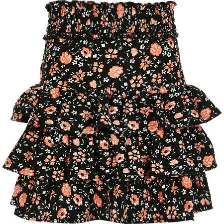 Girls black floral rara skirt | River Island