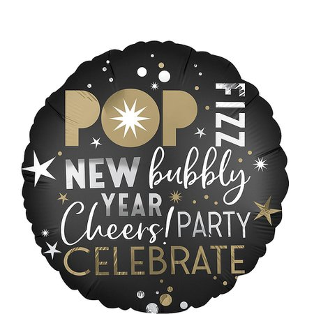 Black, Gold & Silver New Year's Eve Balloon 18in   Party City Canada