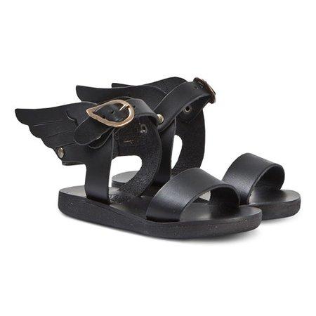 Ancient Greek Sandals Black Little Ikaria Leather Sandals | AlexandAlexa