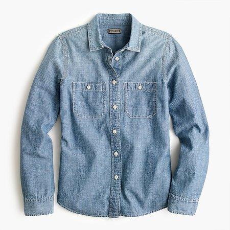 J.Crew: Button-up Shirt In Japanese Denim For Women