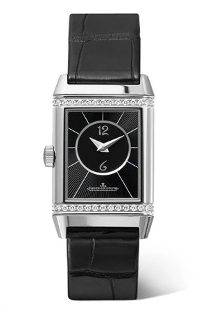 Silver Reverso Classic Small Duetto stainless steel, diamond and alligator watch | Jaeger-LeCoultre | NET-A-PORTER