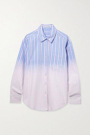 Oversized Degrade Striped Cotton Oxford Shirt - Blue