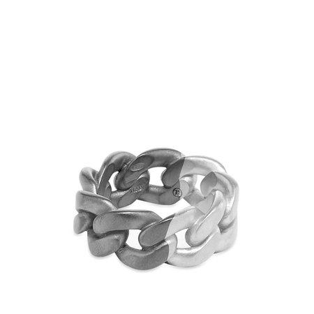 Maison Margiela 11 Bi-Colour Chain Band Ring Silver & Black   END.