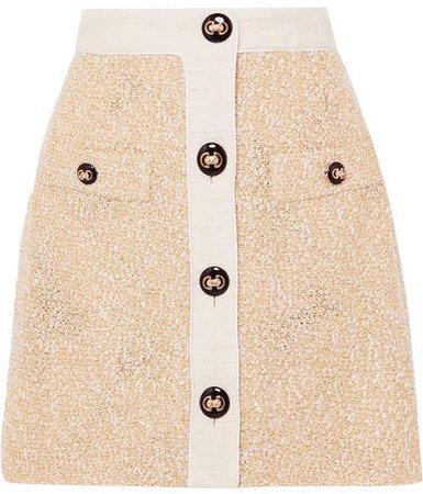 Button-embellished Metallic Bouclé-tweed Mini Skirt - Yellow