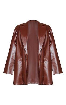 Chocolate Longline Lapel Detail Faux Leather Blazer | PrettyLittleThing USA