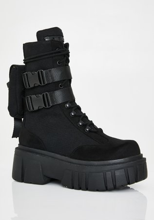 Club Exx Renegade Rager Buckle Combat Boots | Dolls Kill
