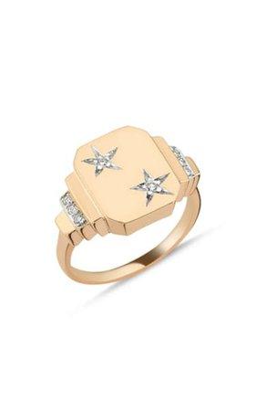 Luna 14k Yellow Gold Diamond Ring By Melis Goral | Moda Operandi