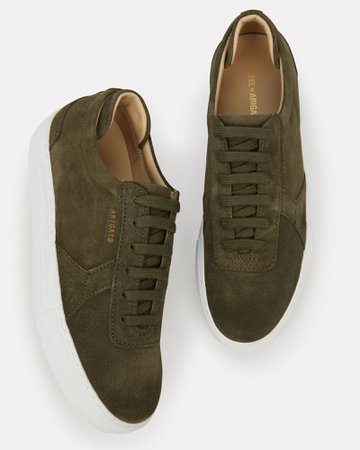 Platform Low-Top Suede Sneakers