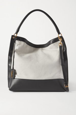 Tag Leather And Canvas Tote - Gray