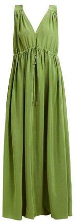 Solaine Silk Maxi Dress - Womens - Green