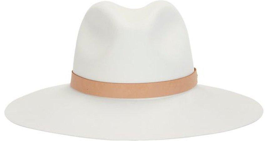 Rag Bone White Leather Band Wide Brim Fedora