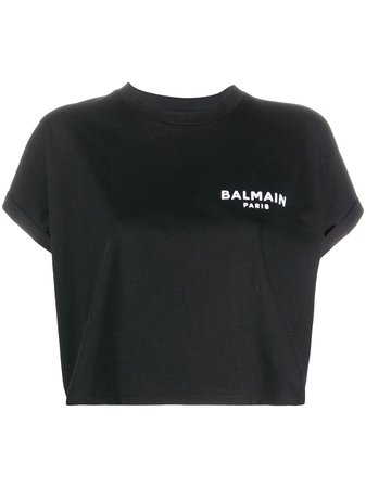 Balmain logo-embroidered Cropped T-shirt - Farfetch