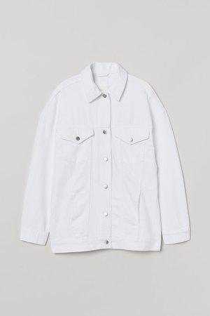 Oversized Denim Jacket - White