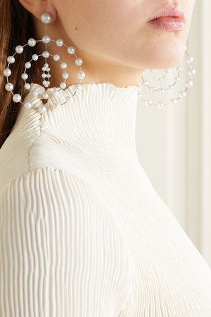 Silver Silver and white gold pearl earrings | Danielle Frankel | NET-A-PORTER