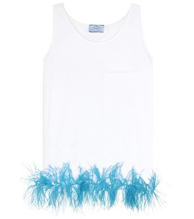 Exclusive to mytheresa.com – Feather-trimmed cotton top