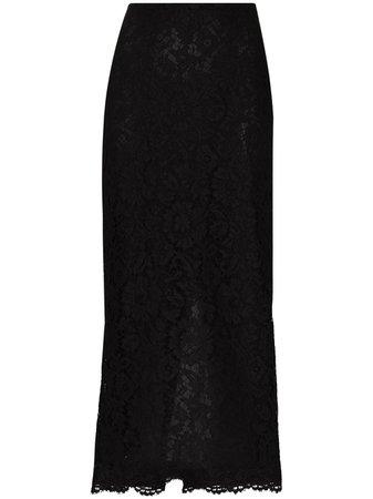 Valentino, high-waist floral-lace midi skirt