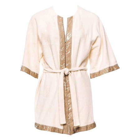 Chanel CC Logo Terrycloth Terry Towel Bath Robe Pool Beach Swim Cover Up For Sale at 1stdibs