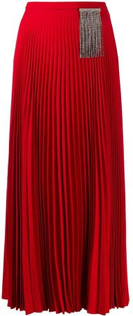 Crystal-Embellished Pleated Skirt