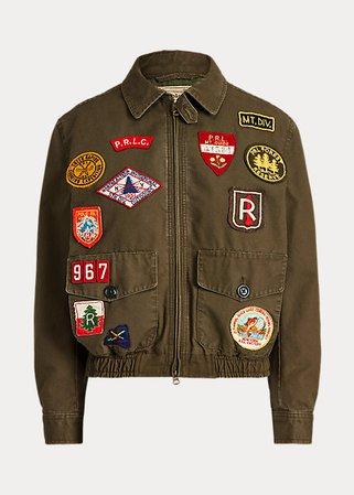 Canvas Graphic Bomber Jacket
