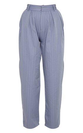 Charcoal Grey Pinstripe Woven Cigarette Trouser   PrettyLittleThing