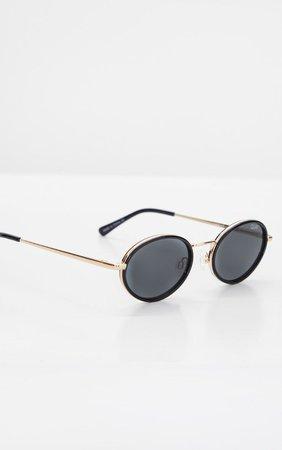 Quay Australia Black Round Gold Bar Sunglasses | PrettyLittleThing USA