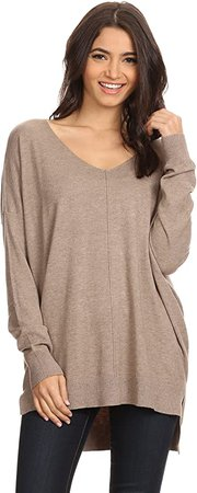 A+D Women's Oversized Extra Soft V-Neck Pullover Sweater Long Sleeved Sweater Top with Hi-Low at Amazon Women's Clothing store