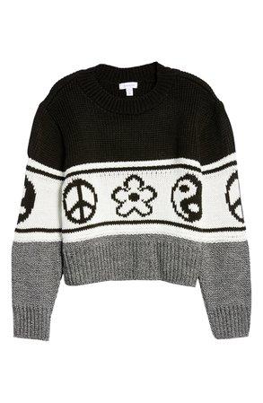 Topshop Ying Yang Crop Sweater | Nordstrom