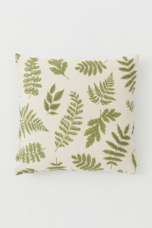 Patterned Cotton Cushion Cover - Light beige/leaf print - Home All | H&M CA