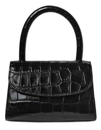 BY FAR Black Croc Mini Handbag