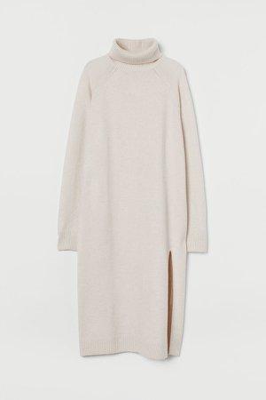 Knit Turtleneck Dress - Brown