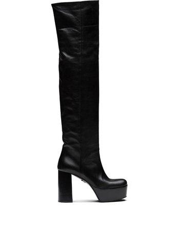 Prada Platform Leather Boots - Farfetch