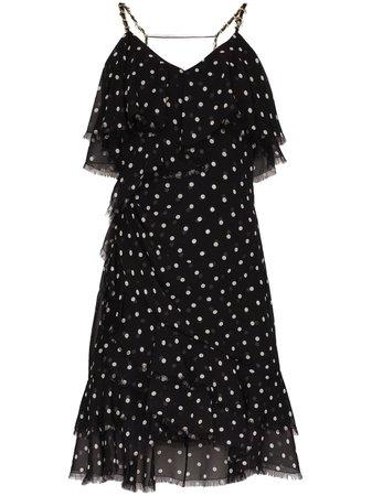 Balmain Polka Dot Ruffle Mini Dress - Farfetch