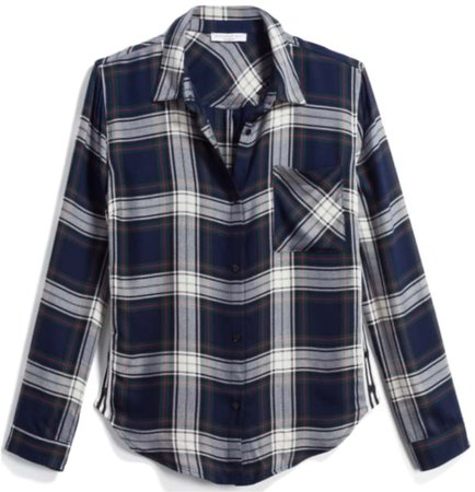 navy and white plaid button down