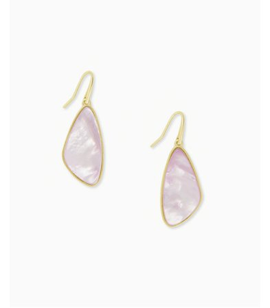 McKenna Gold Small Drop Earrings In Lilac Mother Of Pearl