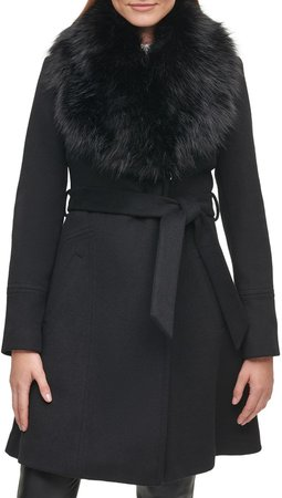 Wrap Coat with Faux Fur Collar