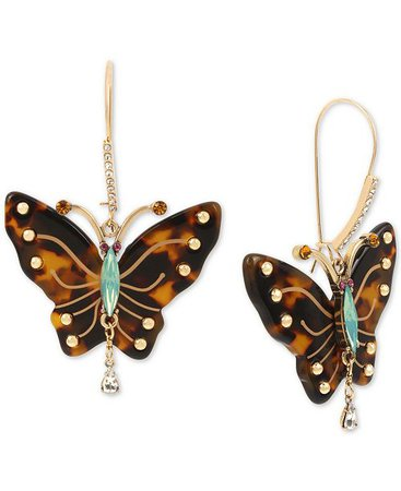 Betsey Johnson Betsy Johnson Gold-Tone Tortoise-Look Butterfly Drop Earrings & Reviews - Earrings - Jewelry & Watches - Macy's