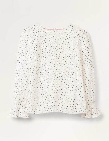 Francesca Top - Ivory, Polka Dot